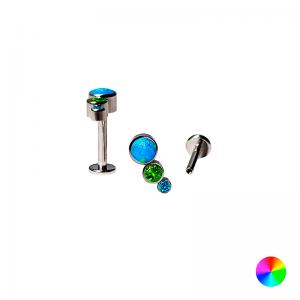Labret Titânio R/ Interna 3 Pedras Multicolor Azul