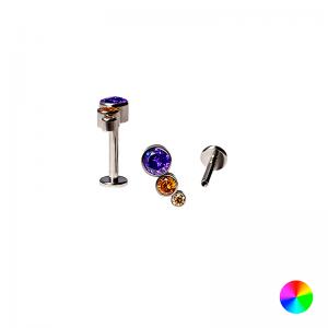 Labret Titânio R/Interna 3 Pedras Multicolor